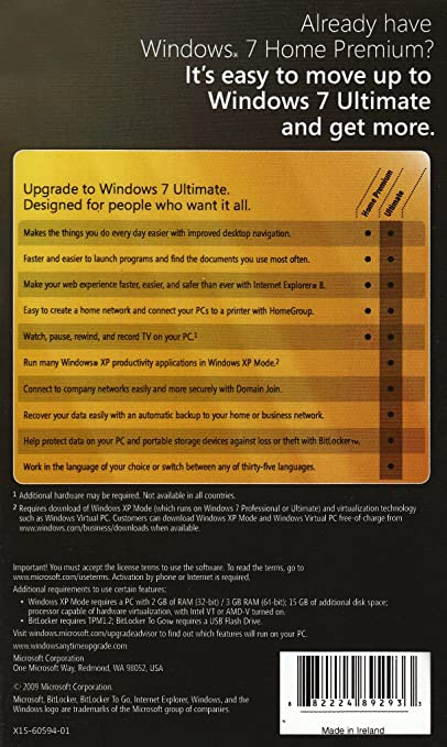 Microsoft Windows 7 Anytime Upgrade, Home Premium to Ultimate (Licence only)