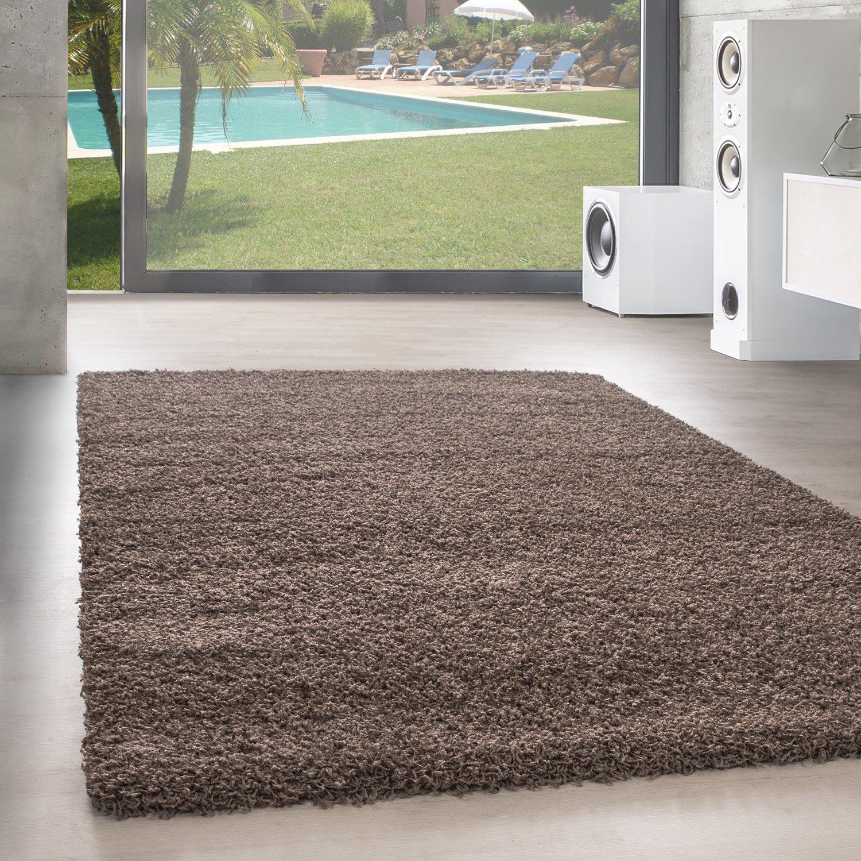 Unbekannt Shaggy Hochflor Langflor Teppich Wohnzimmer Carpet Uni Farben, Rechteck, Rund, Farbe Mocca, Größe 200x290 cm