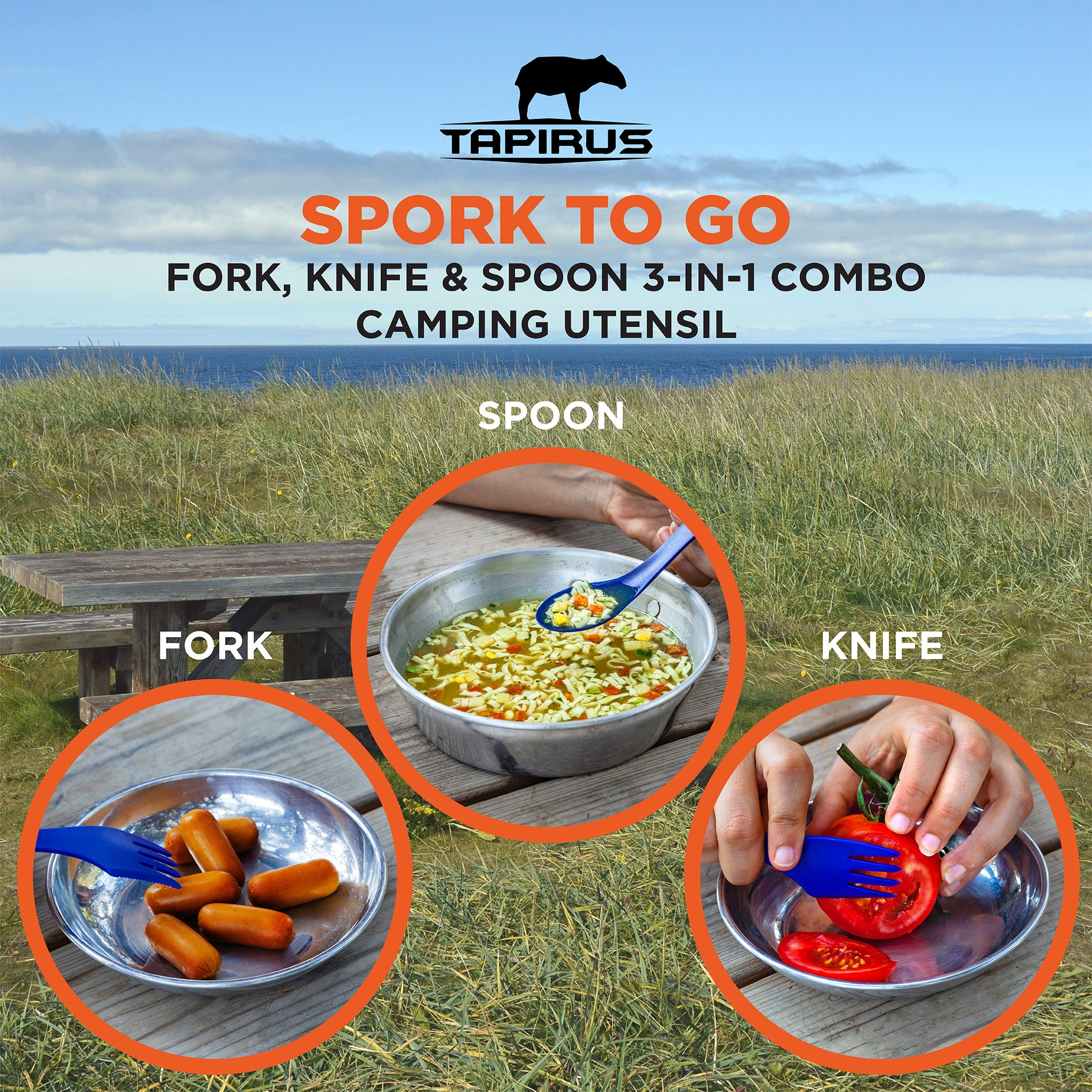 Tapirus 4 Blue Spork To Go Set | Durable & BPA Free Tritan Sporks | Spoon, Fork & Knife Combo Utensils Flatware | Mess Kit For Camping, Fishing, Hunting & Outdoor Activities | Comes In A Carrying Case by Tapirus (Image #3)