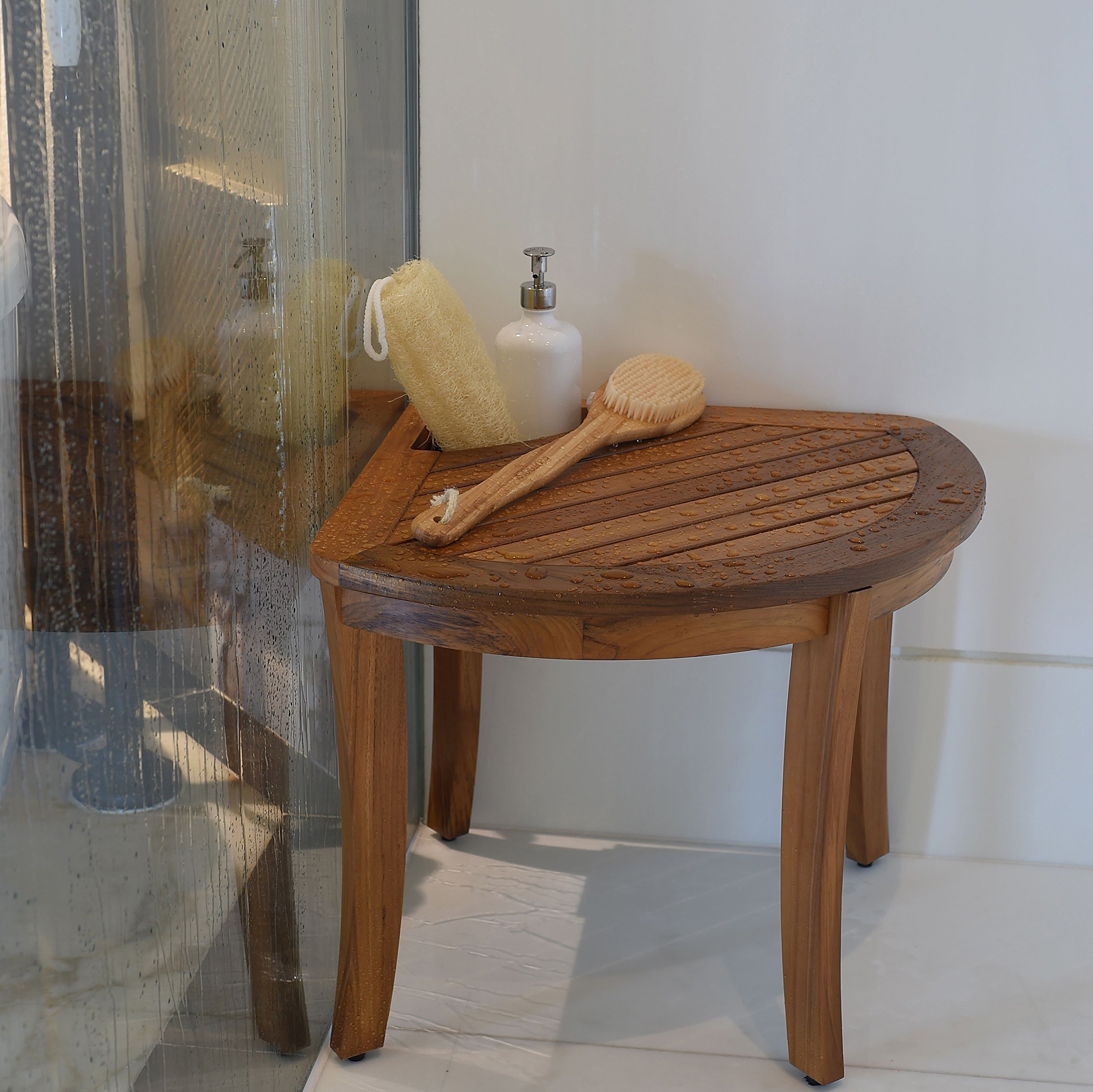 Cambridge-Casual AMZ-250374T Teak Spa/Shower Corner Stool, Natural ...