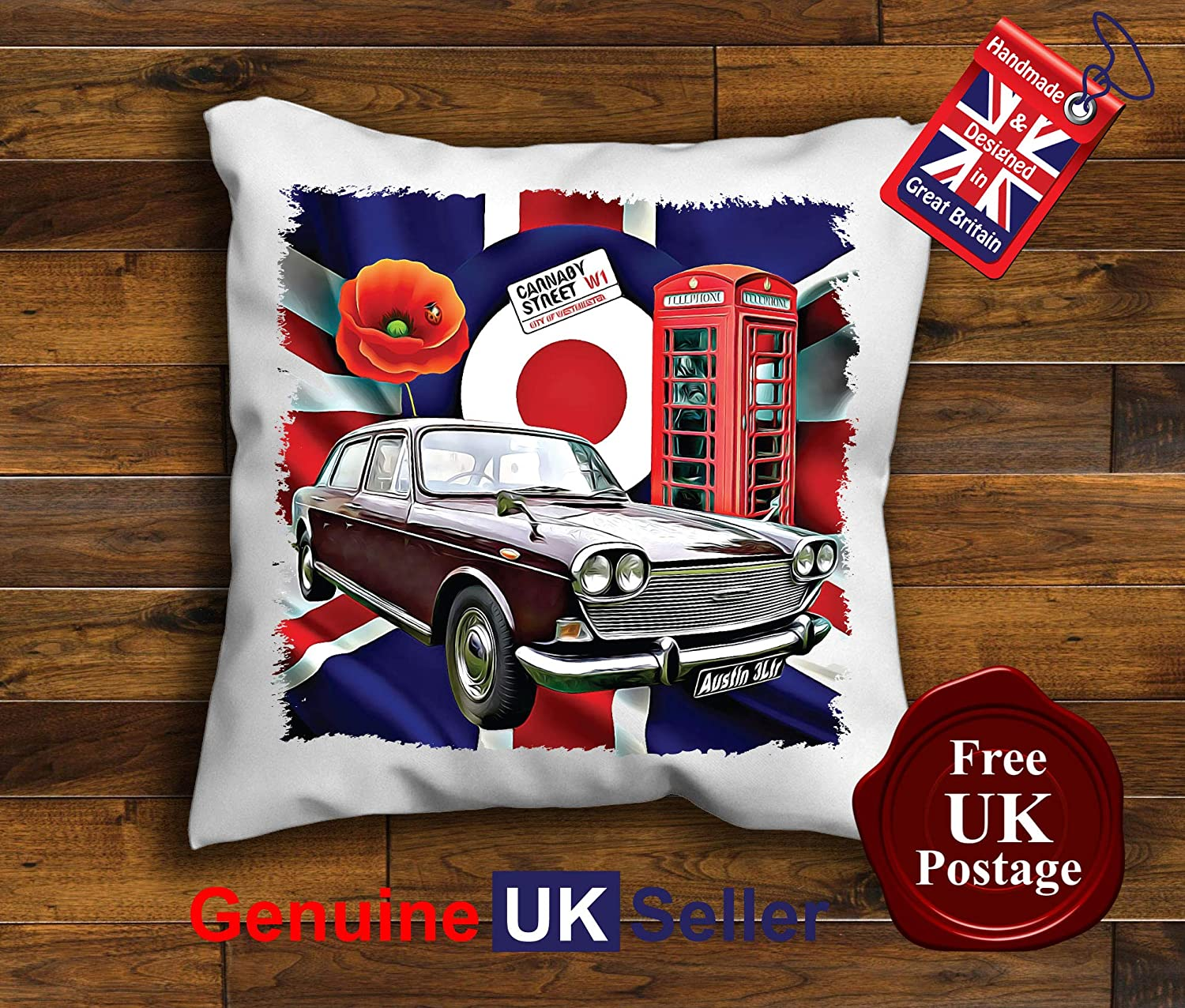 Austin 3 Litre Cushion Cover, Austin 3 Litre Cushion, Choice of sizes, Handmade 10 to 20 inch See Description