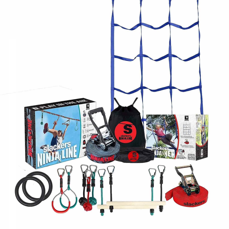 Slackers Ninja Climbing Line with Cargo Net (30 & 50 Varieties) | Ninjaline | Slackline Obstacle Course | Slackersline | Ninja Warrior Kit (50)