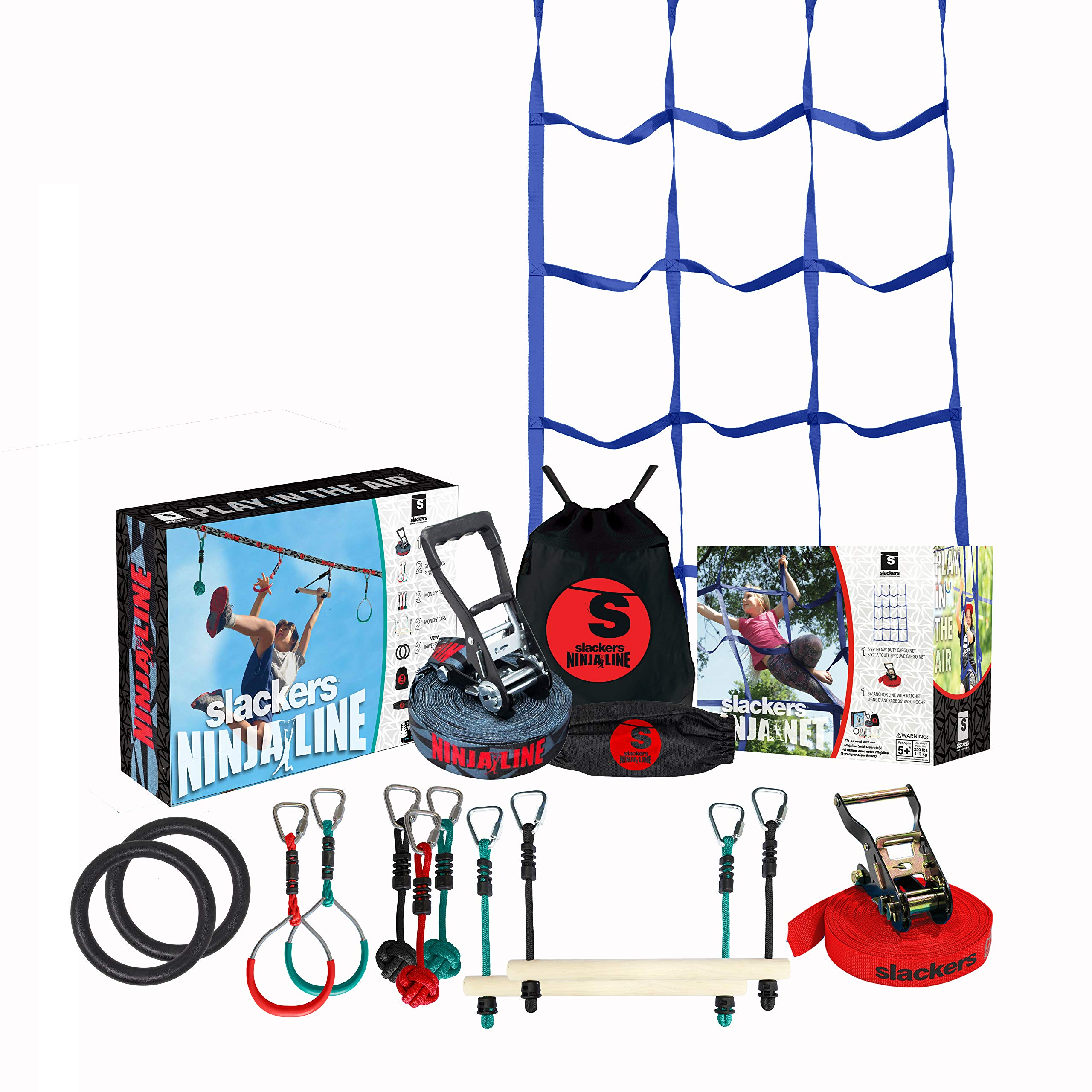 Slackers Ninja Climbing Line with Cargo Net (30' & 50' Varieties) | Ninjaline | Slackline Obstacle Course | Slackersline | Ninja Warrior Kit (50') by Slackers