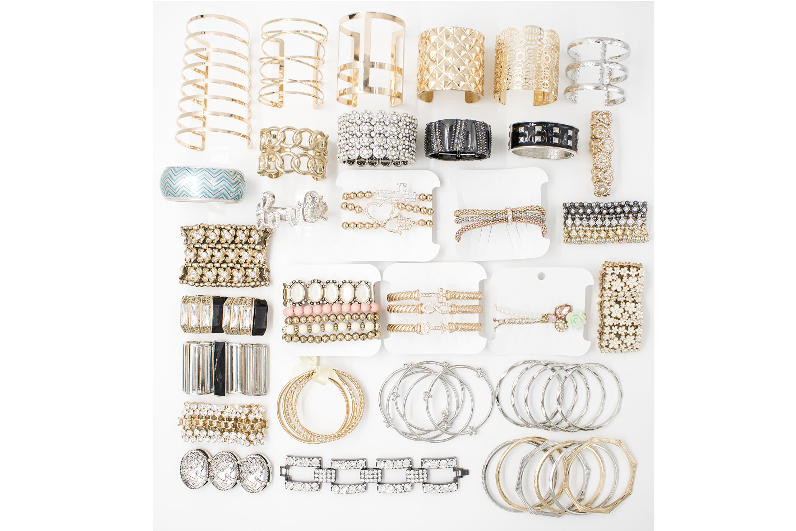 Choice by Choi Fashion Jewelry Assorted Gold & Silver, Bulk for Wholesale, Assorted Bracelet, Necklace, Earrings, Rings & Strand made of Zinc, Steel, Brass by (100 PCS Assorted) by Choice by Choi (Image #5)