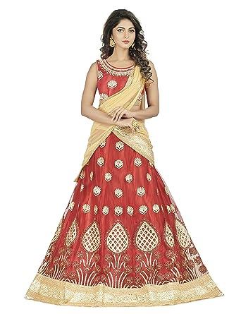 9ac84046b4 Women's Net Bridal Lehenga Choli/Semi Stitched Lehenga Ghagra Choli (Red):  Amazon.in: Clothing & Accessories