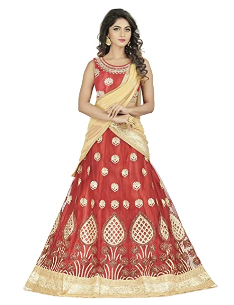 Oomph! Women's Net Dress Material Lehenga Cholis at amazon