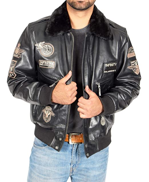 Mens Pilot Leather Jacket Heavy Duty Black Bomber with ...