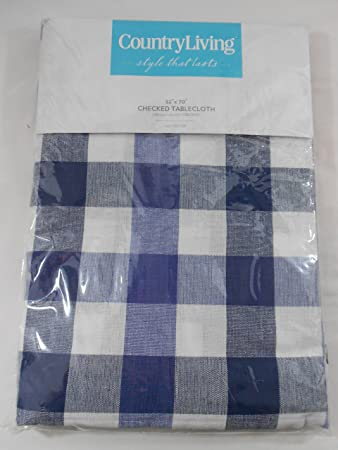 Country Living Cotton Blue White Checked Tablecloth