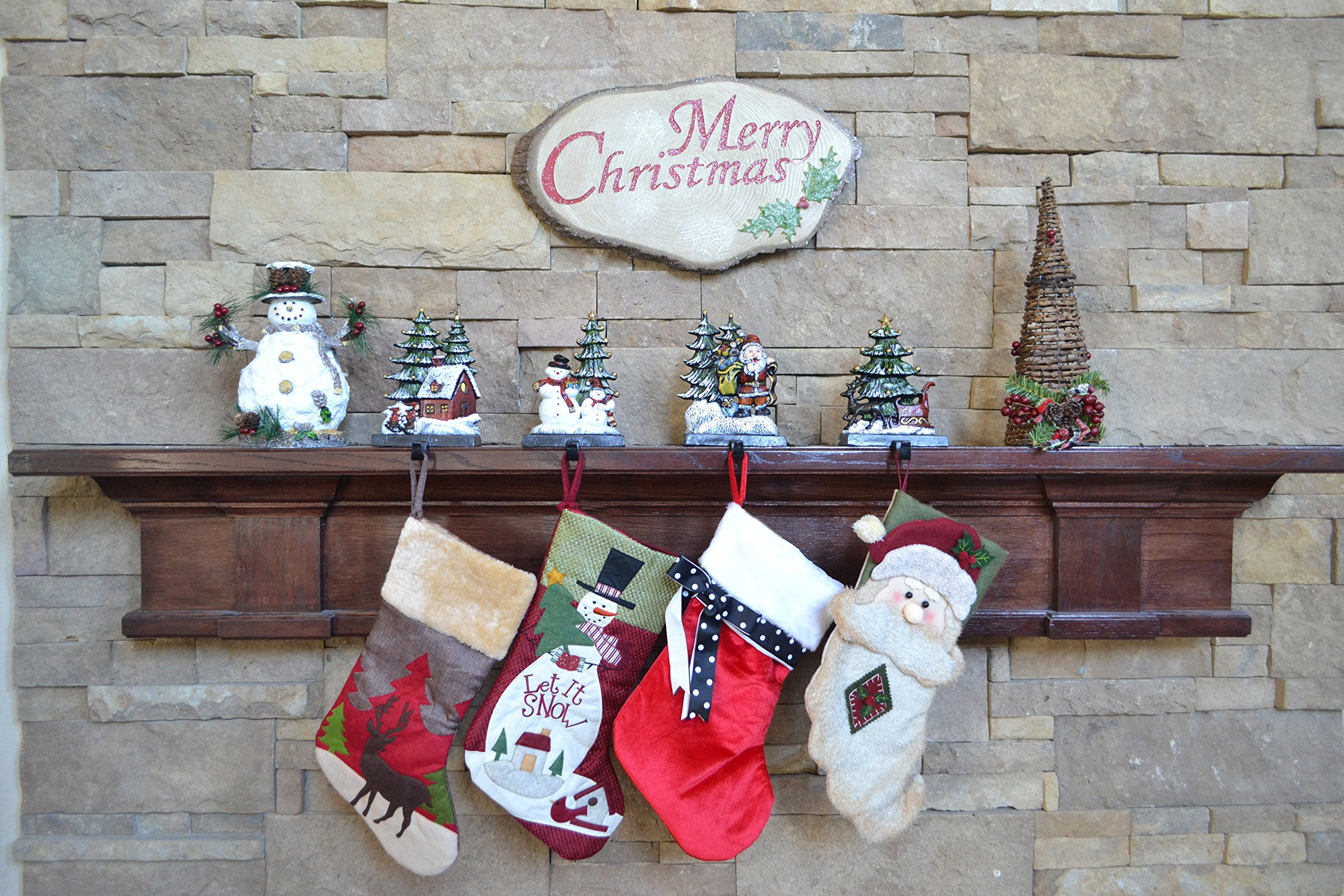 Lulu Decor, Cast Iron Christmas Stocking Holder, Set of 4 hooks, Sleigh with deer, Santa with gifts, House with kids & Snowman with christmas tree (House) by LuLu (Image #7)