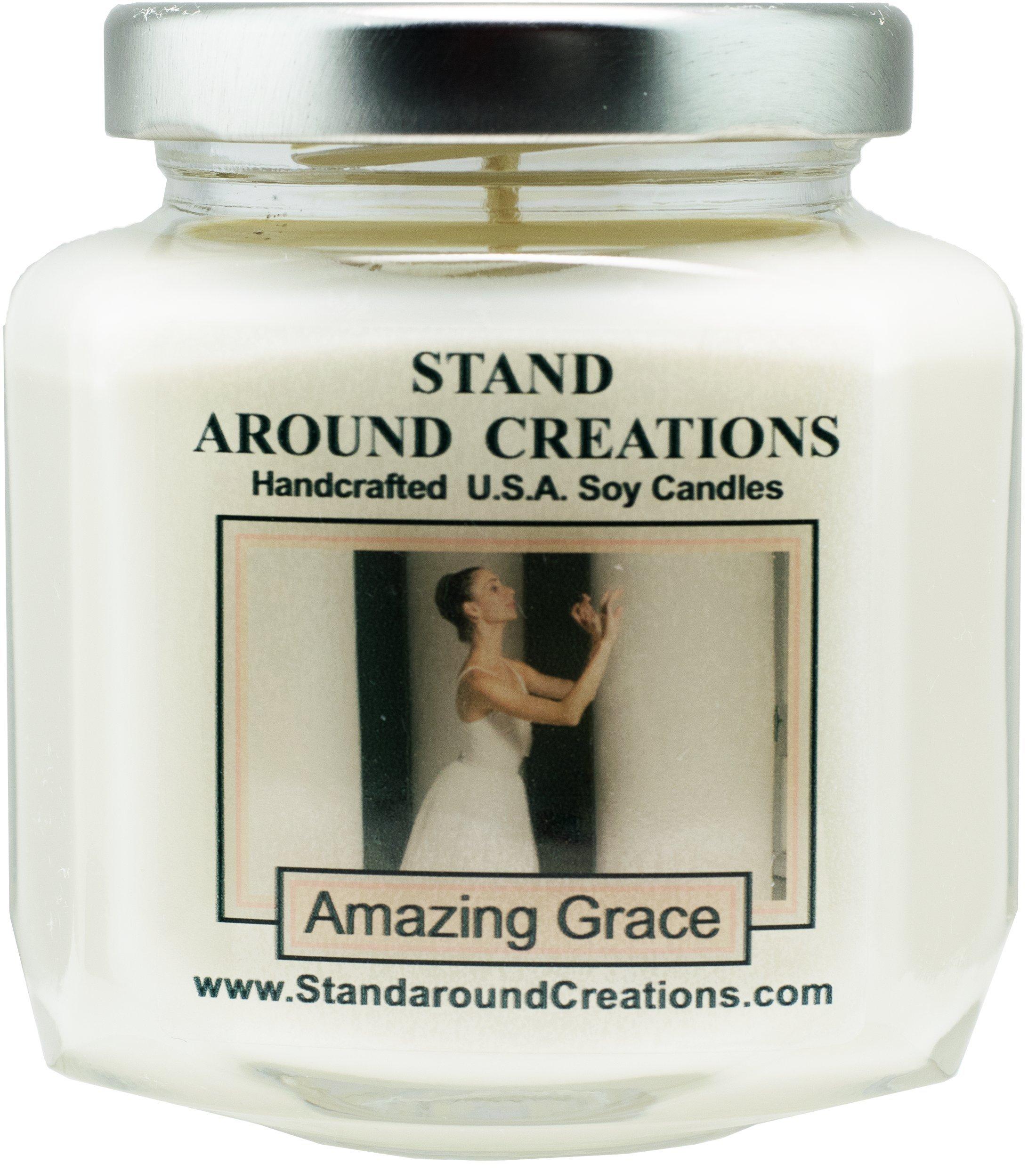 Premium 100% Soy Candle - 6 - oz. Hex Jar-Scent- Amazing Grace: Bergamot w/ lemon are sweetened w/ fresh citron. Jasmine, orange blossom.