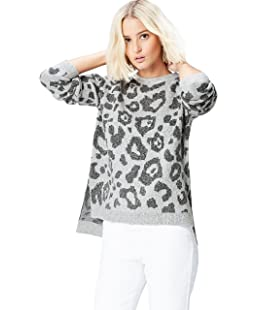 FIND Women's Jumper In Animal Print Jacquard, Grey (Grau), 8 (Manufacturer size: X-Small)