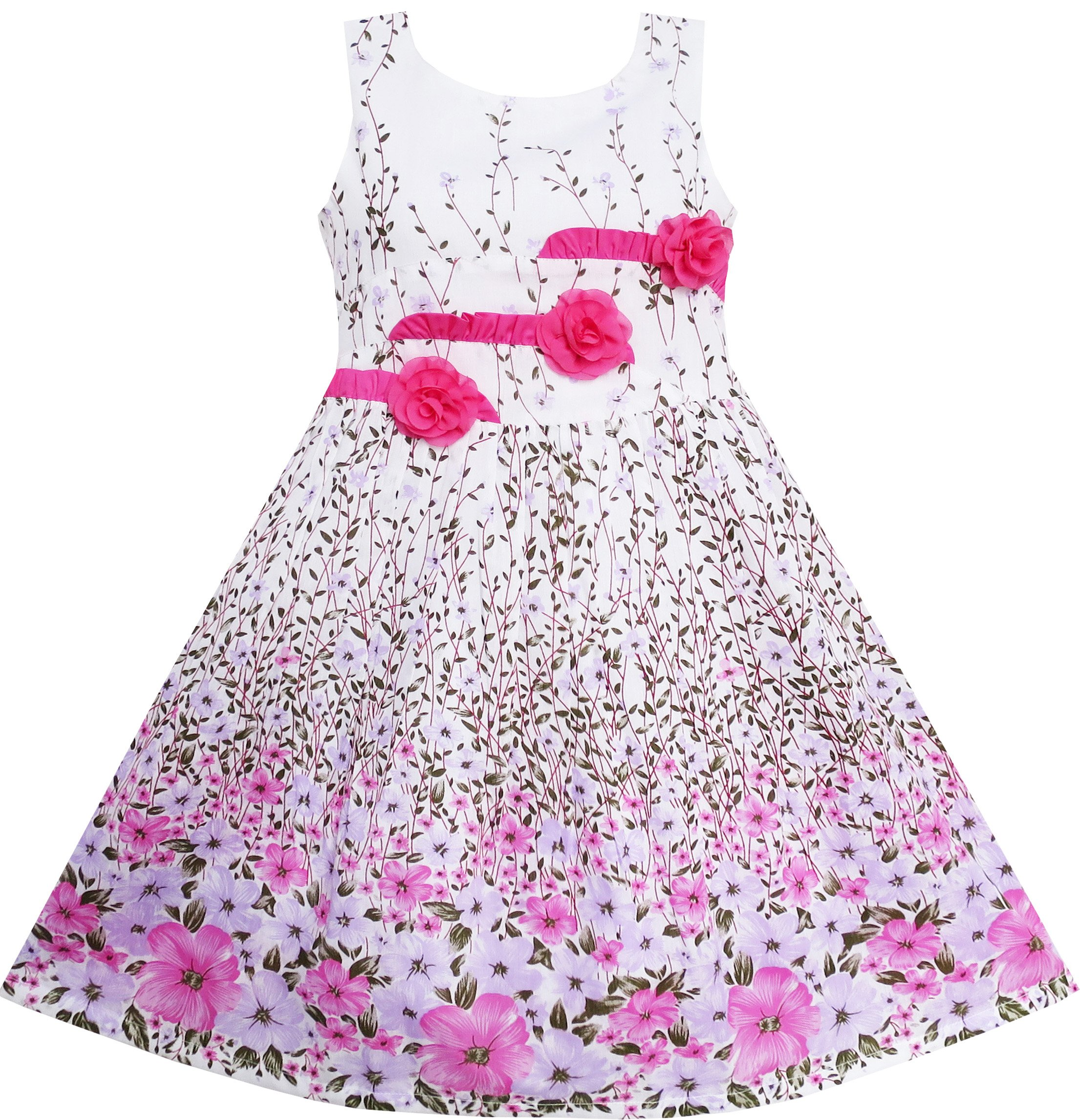 Sunny Fashion EP31 Girls Dress 3 Pink Flower Leaves School Party Size 6