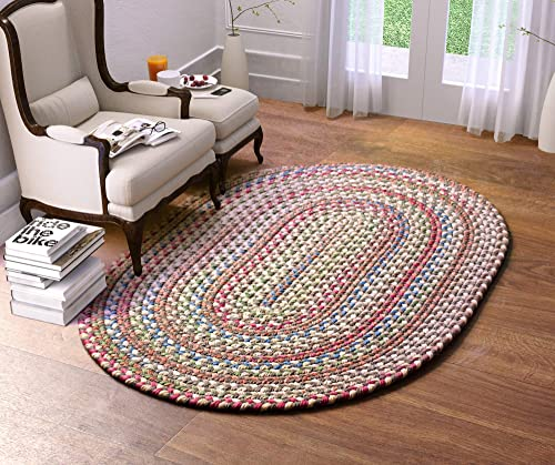 Super Area Rugs Roxbury Indoor Outdoor Braided Rug Dk. Taupe Natural Multi Colored RB39, 3 X 5 Oval
