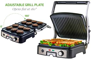 Ovente GP1861BR 6-Slice Multi-Purpose Electric Panini 3 Heat Settings,1500W, Non-Stick Coated Plates, 180° Hinge, Cool-Touch Handle, Drip Tray, Grill Brush, Nickel
