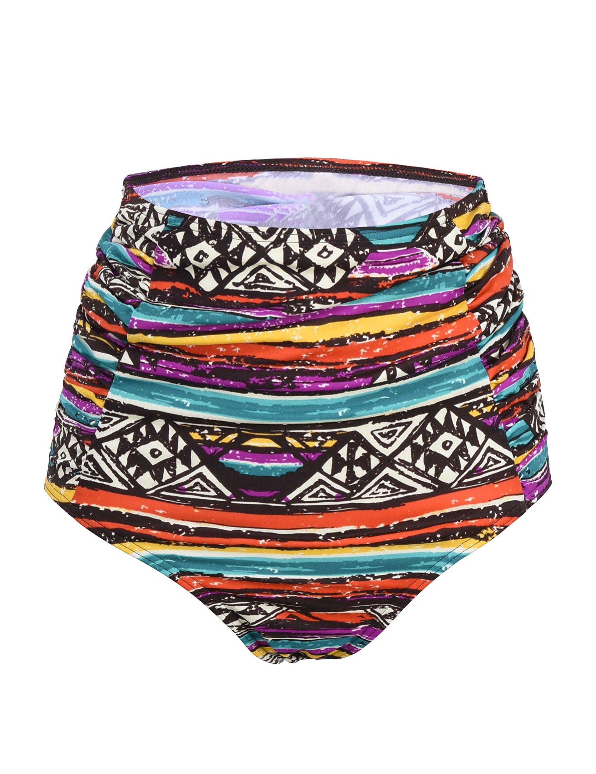 Septangle Women's Vintage High Waisted Bikini Bottom Shirred Tankini Briefs (14, National Style) by Septangle