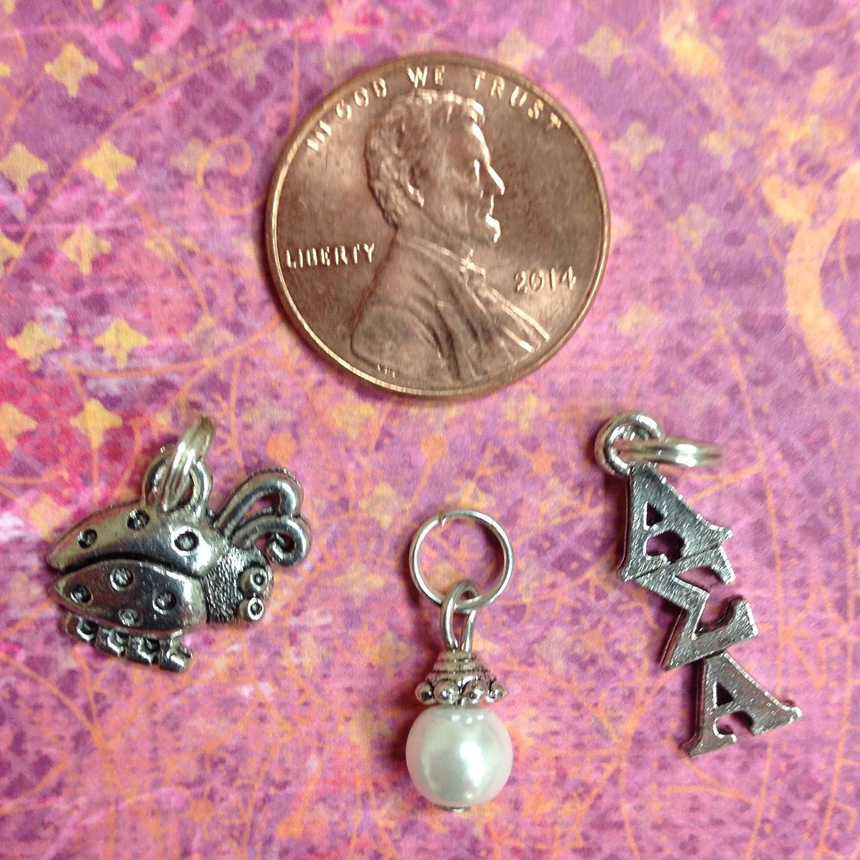 Sorority Greek Alpha Sigma Alpha Essential Trio of Charms lavaliere ladybug charm white glass pearl dangle