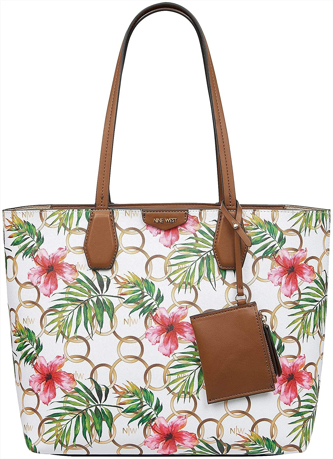 8834b8438 Amazon.com: Nine West Caden Ring & Hibiscus Print Tote Handbag  White/pink/brown/green: Shoes
