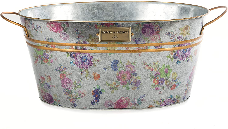 MacKenzie-Childs Flower Market Galvanized Beverage Bucket, Large Drink Tub for Indoor or Outdoor Parties