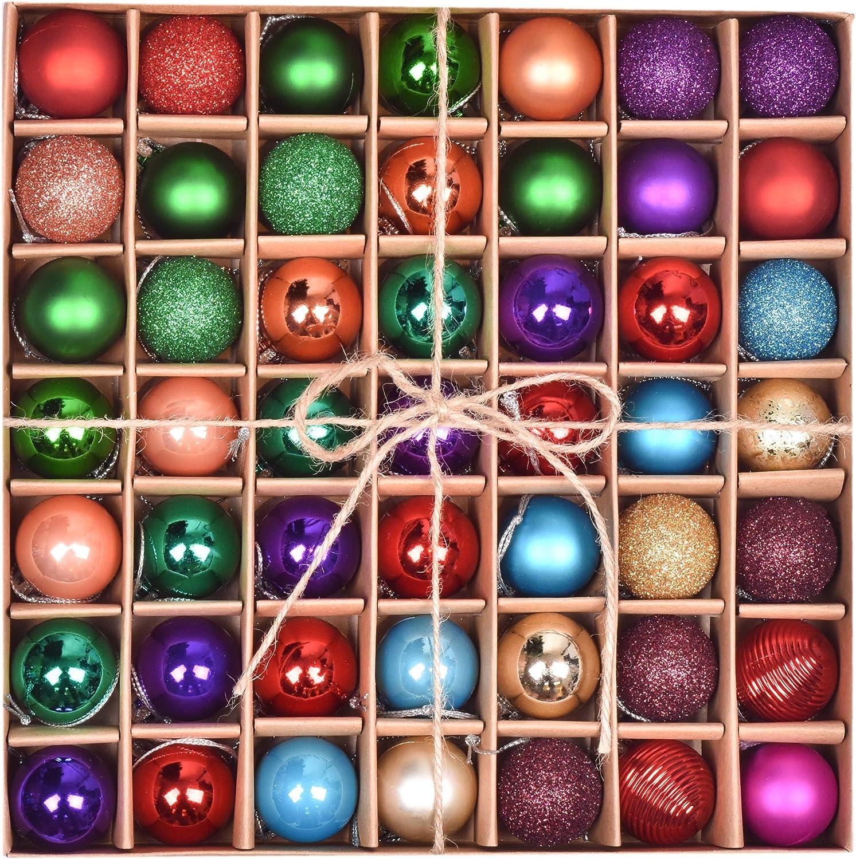 Valery Madelyn 49pcs 3cm Boules de No/ël D/écoration Classique dornements de Boule de No/ël Incassables Rouge Vert et Blanc pour D/écoration darbre de No/ël