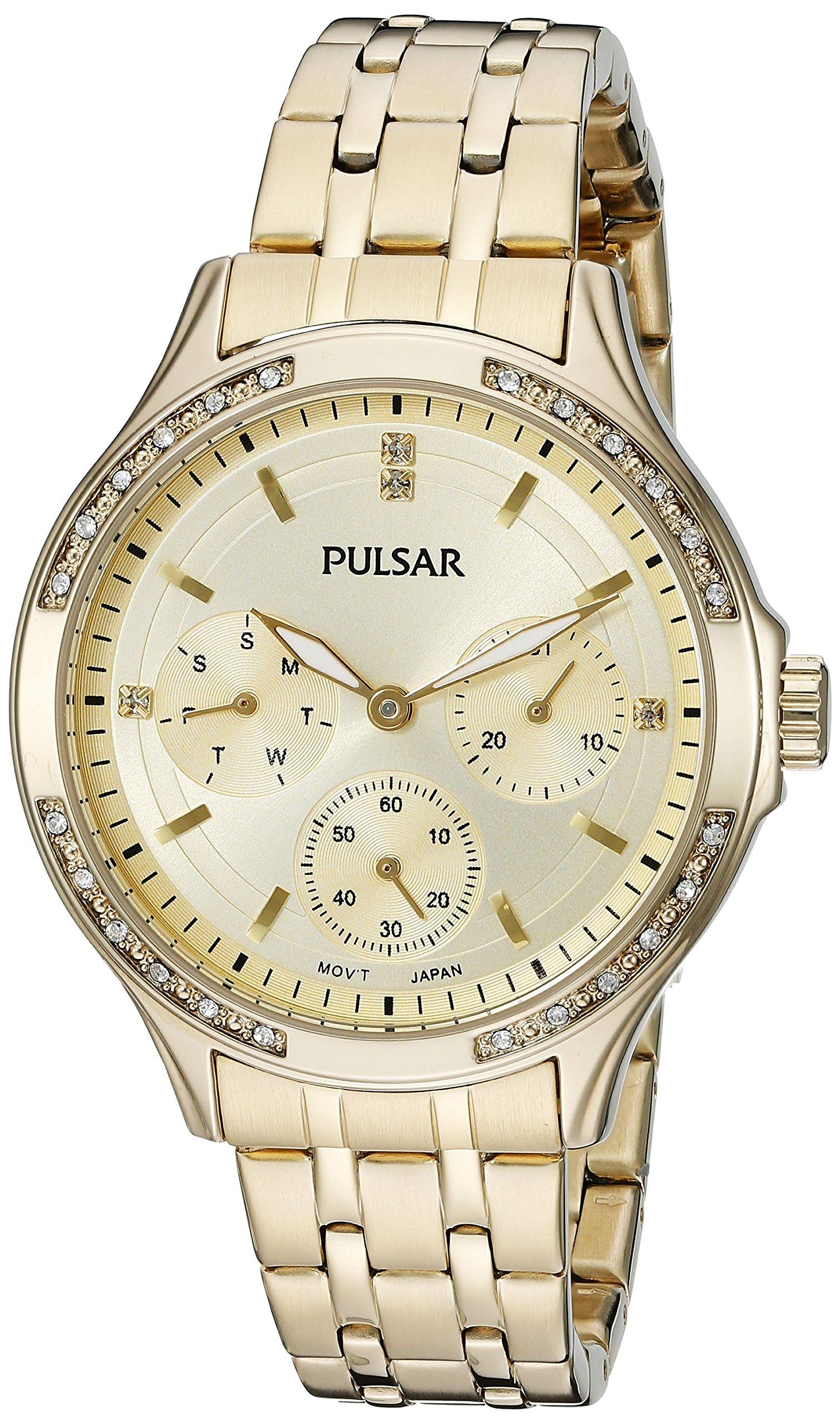 Pulsar Women's PP6190 Chronograph Analog Display Japanese Quartz Gold Watch