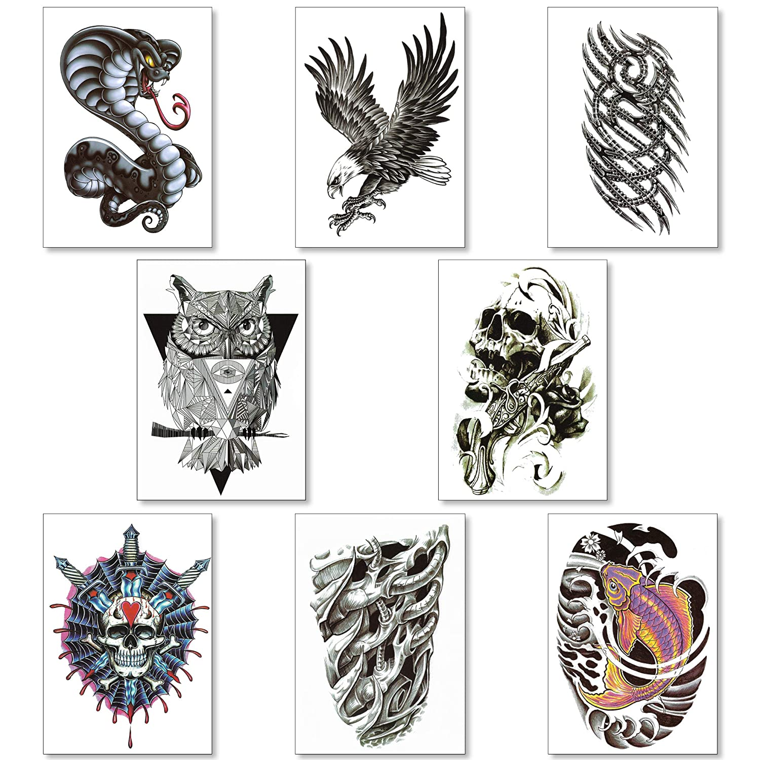 Amazon Com Temporary Tattoos For Men Guys Boys Teens 8 Large Sheets Fake Tattoos Stickers For Arms Shoulders Chest Back Legs Eagle Koi Fish Skull Gun Owl Tattoo Realistic Body lion tattoo for men. temporary tattoos for men guys boys teens 8 large sheets fake tattoos stickers for arms shoulders chest back legs eagle koi fish skull gun owl