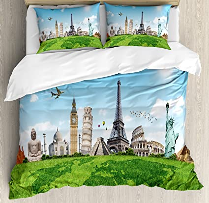 Amazon ambesonne map duvet cover set king size famous ambesonne map duvet cover set king size famous historical monuments of the world theme holiday gumiabroncs Images