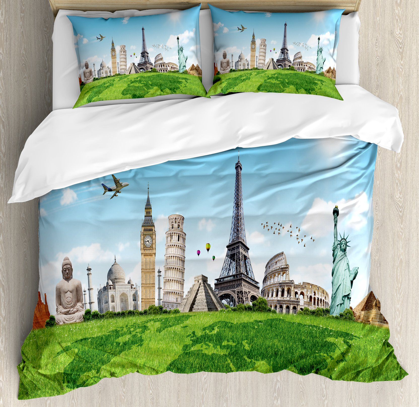 Ambesonne Map Duvet Cover Set King Size, Famous Historical Monuments of the World Theme Holiday Travel Destinations, Decorative 3 Piece Bedding Set with 2 Pillow Shams, Light Blue Green Ivory by Ambesonne