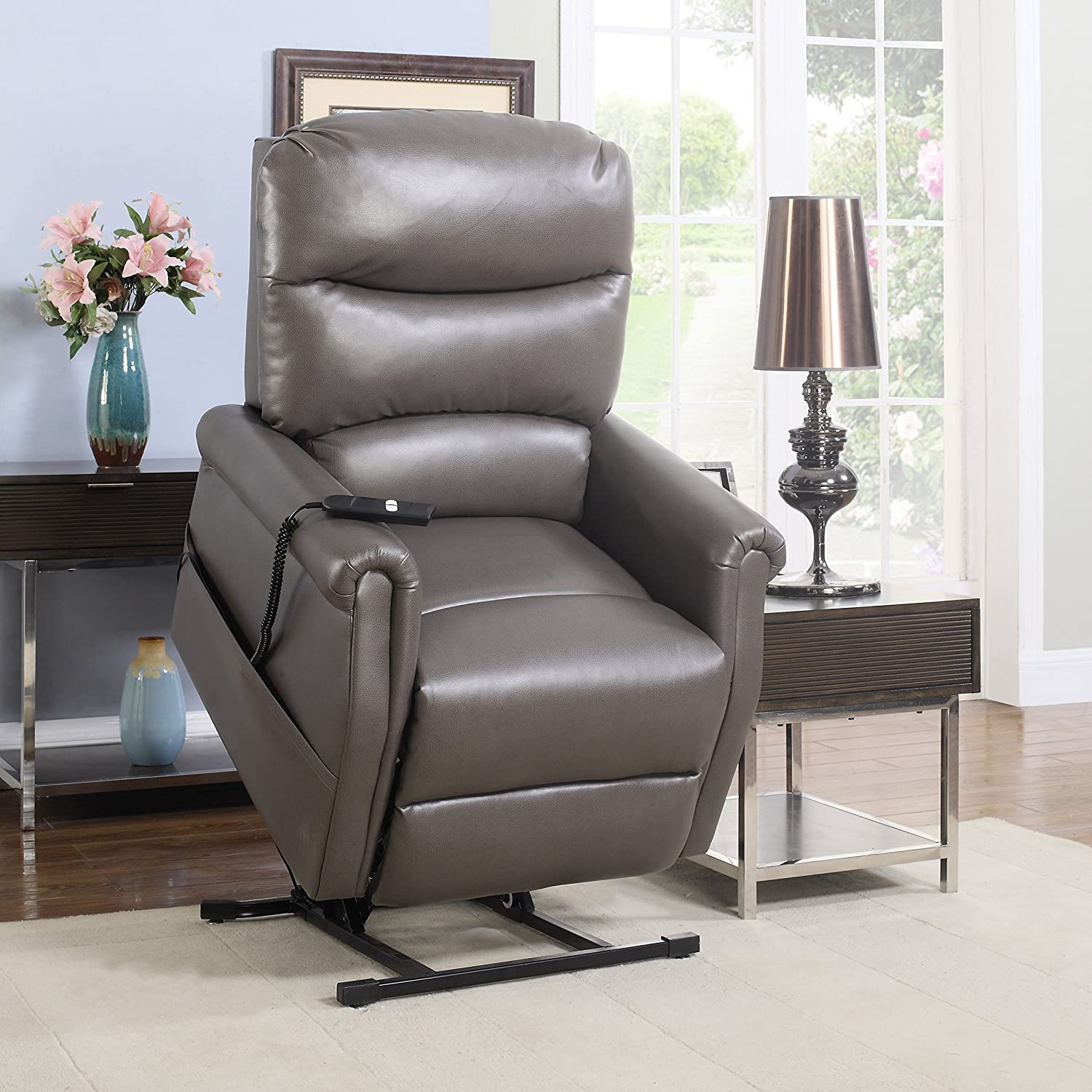 Divano Roma Furniture Classic Plush Bonded Leather Power Lift Recliner Living Room Chair, Large, Grey