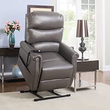 Elegant Divano Roma Furniture   Classic Plush Bonded Leather Power Lift Recliner  Living Room Chair (Grey Great Pictures