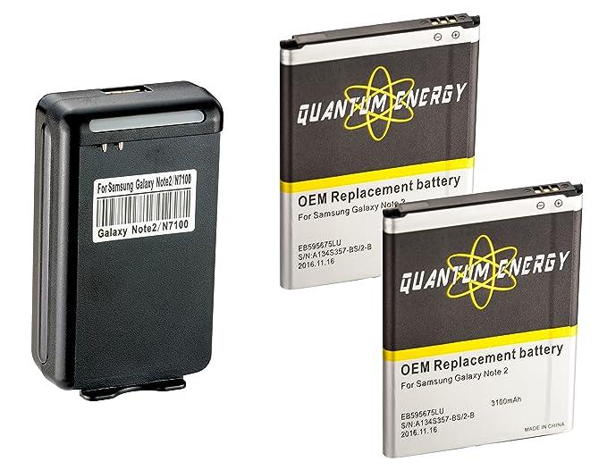 Amazon.com: 2x Baterías 3,100 mAh Note 2 QUANTUM ENERGY para ...