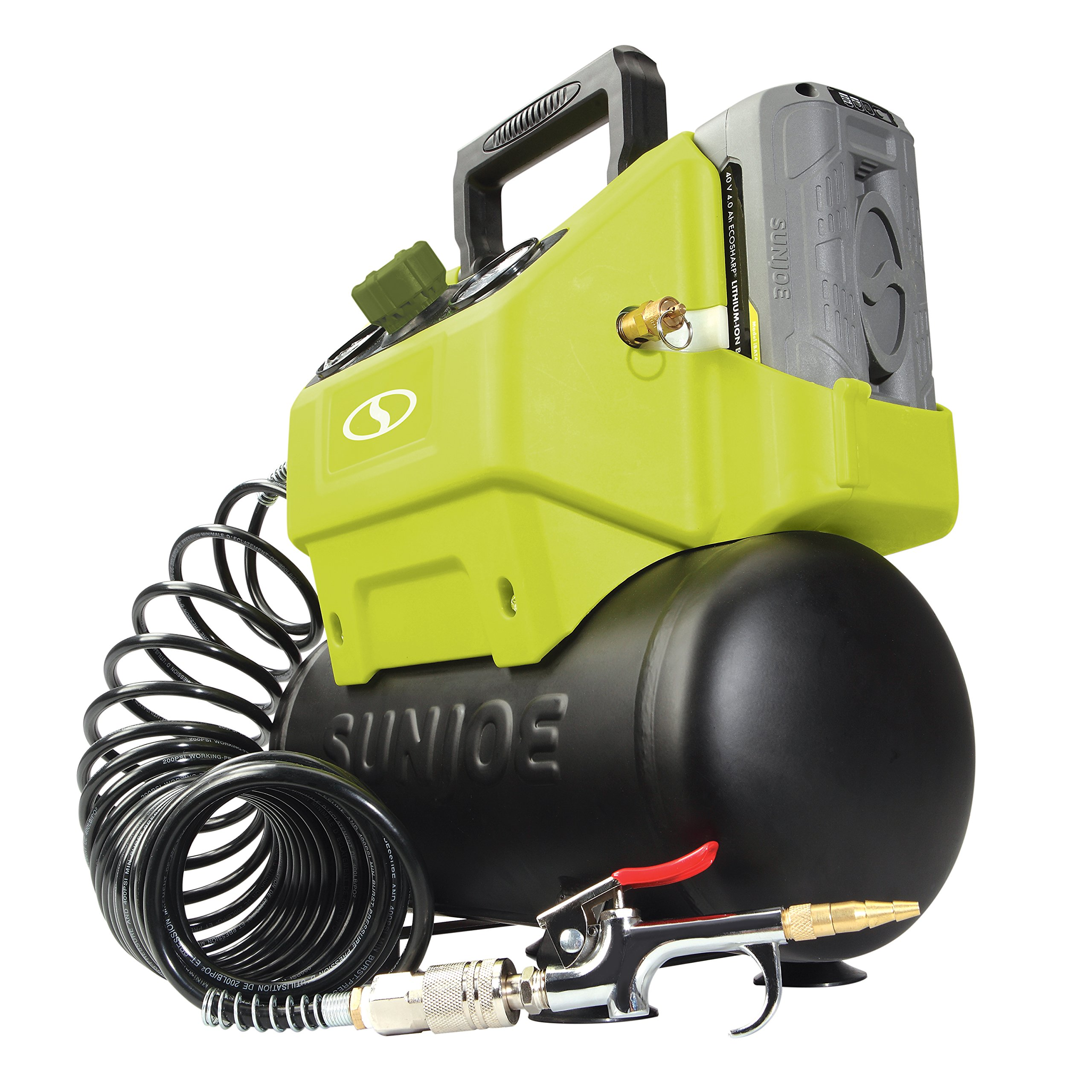 Snow Joe Sun Joe IONAIR 40V Cordless 1.6 Gallon Hotdog Air Compressor, Green