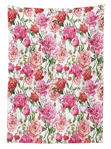 Watercolor Flower Decor Tablecloth Victorian Style Floral Pattern Painting  Style Print With Peonies And Roses Rectangular