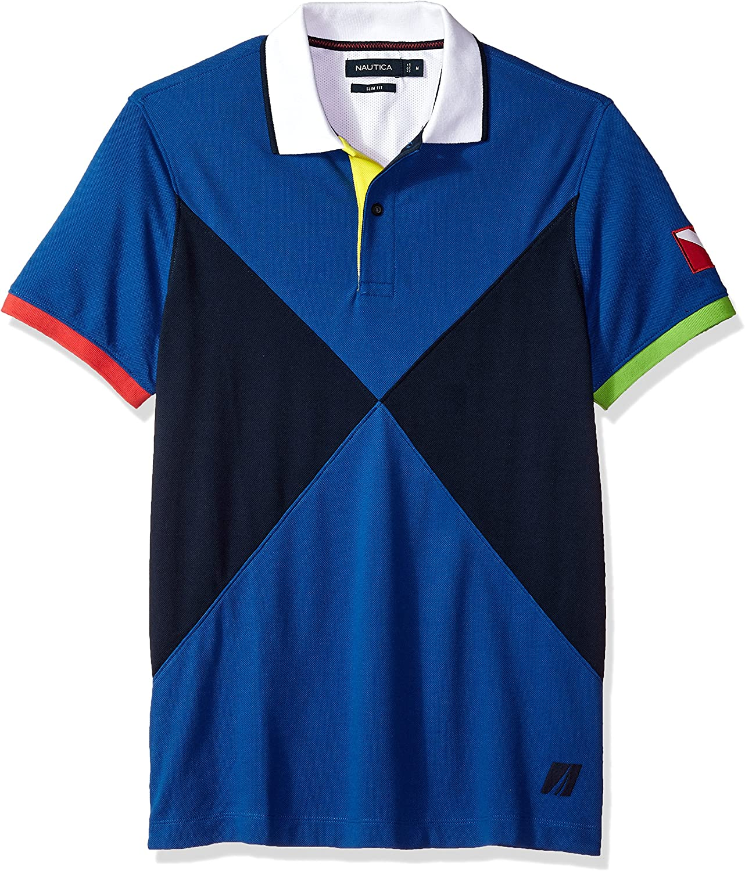 Nautica Hombre Manga Corta Camisa Polo - Azul - Medium: Amazon.es ...