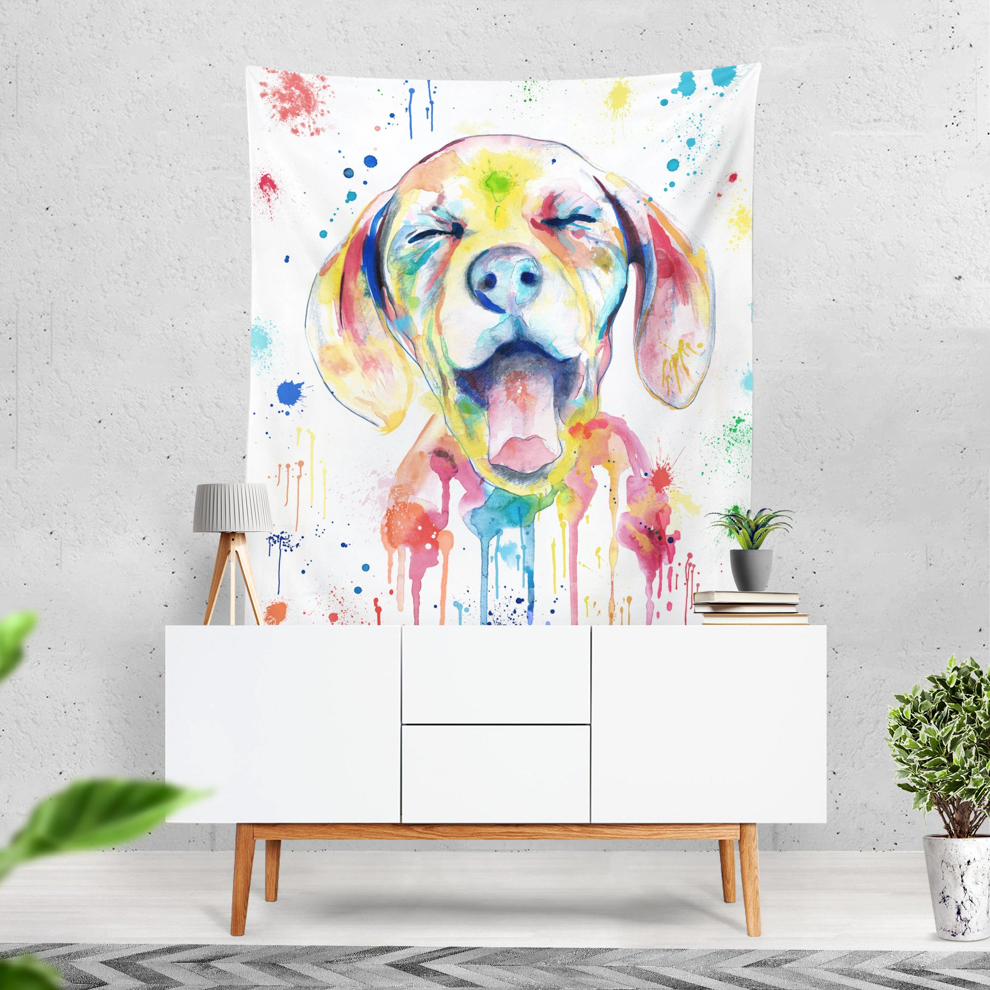 Lume.ly - Ditzy Dog Colorful Large Wall Tapestry, Exclusive Vibrant Art Decor for Bedroom Living Room Dorm Wall Decor, Wall Hanging, Beach Tapestries (50x60 inches) by Lume.ly (Image #1)