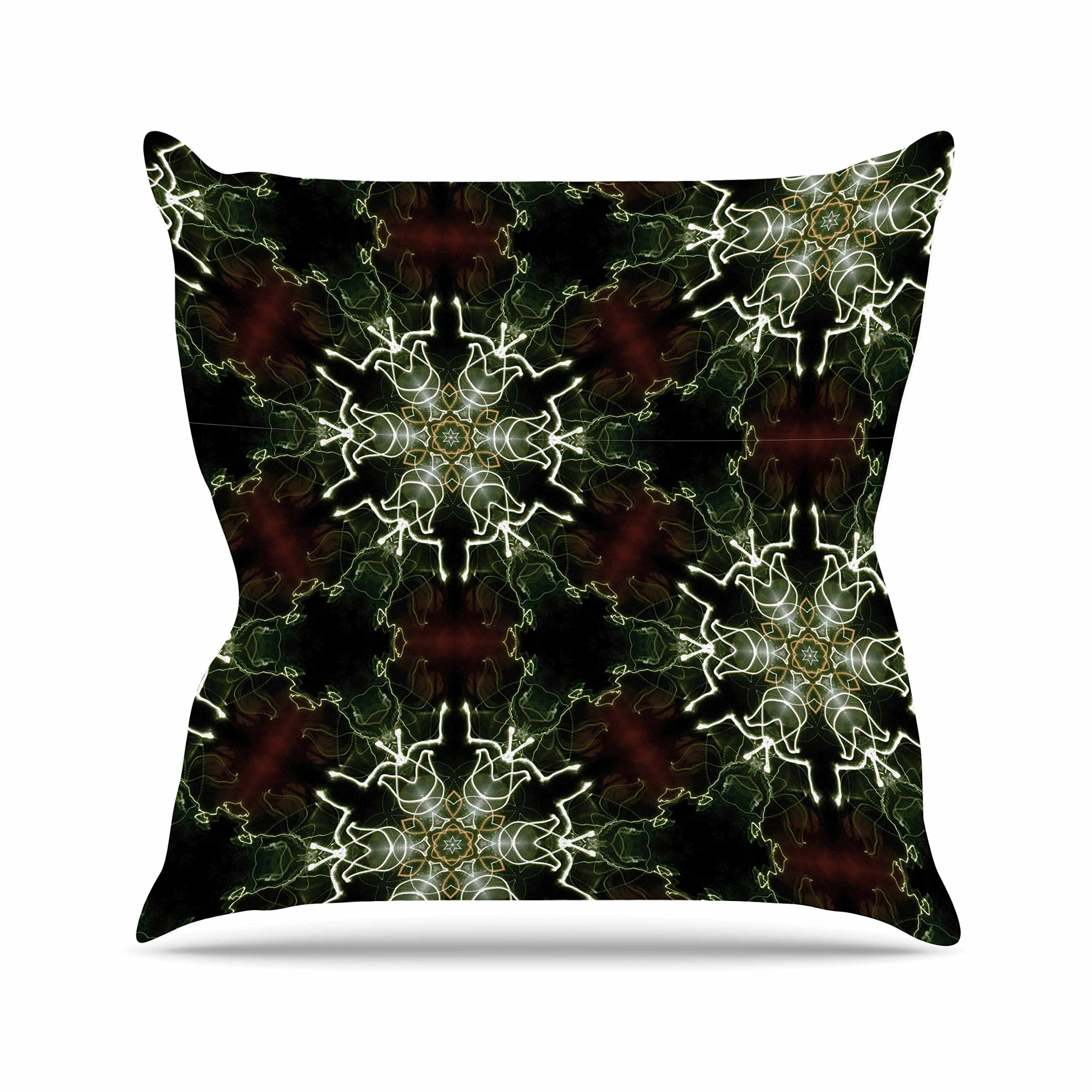 Kess InHouse Gukuuki Mandala Lights Black Abstract Outdoor Throw Pillow, 16'' x 16''