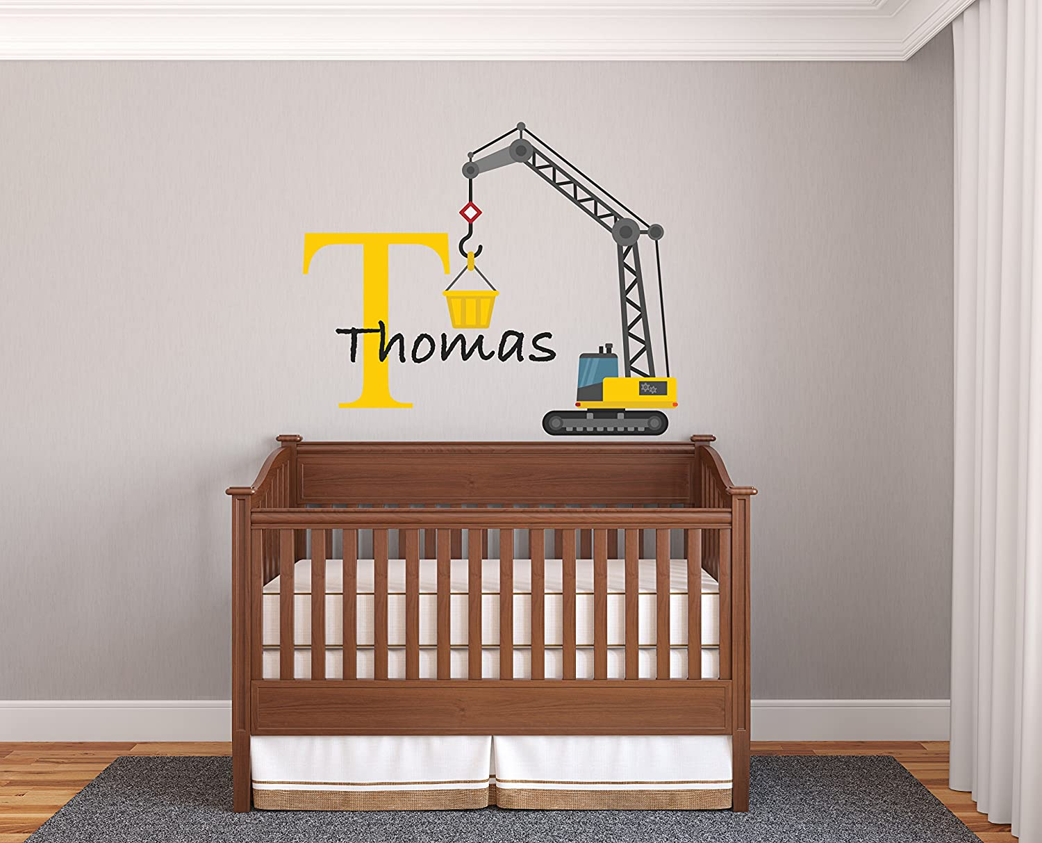 "Custom Name & Initial Construction Crane - Prime Series - Baby Boy - Nursery Wall Decal for Baby Room Decorations - Mural Wall Decal Sticker for Home Children's Bedroom (Wide 22""x18"" Height)"