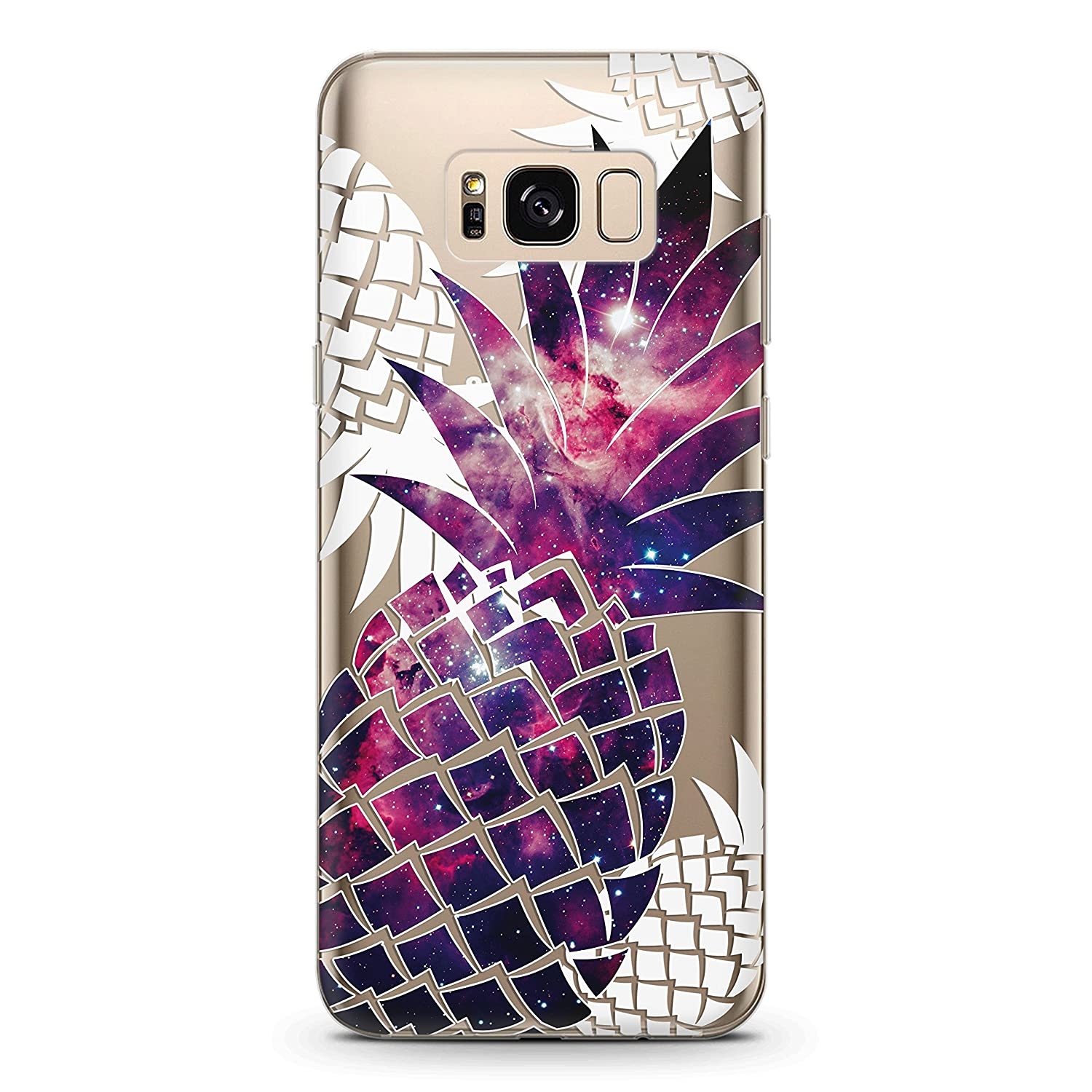 Wonder Wild Silicone Samsung Galaxy S8 S9 Plus 7 Edge Note 8 A3 A5 A7 A8 Clear Case Cute Fruit Cover 2017 2018 Phone Watercolor Purple Pineapple Print Funny Design Cool Tropical Plant Floral Vintage