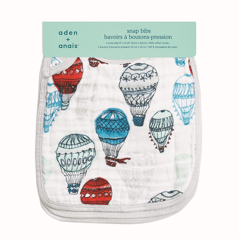 anais Classic Snap Bib; 100/% Cotton Muslin; Soft Absorbent 3 Layers; 3-pack; Adjustable; 9 X 13; dream ride; giraffe; ballons aden