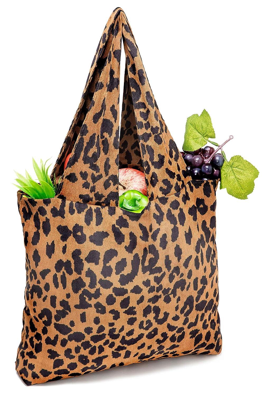 再利用可能な食料品バッグ ヒョウ柄ショッピングバッグ L B07NMTLX9T C1 Leopard Print