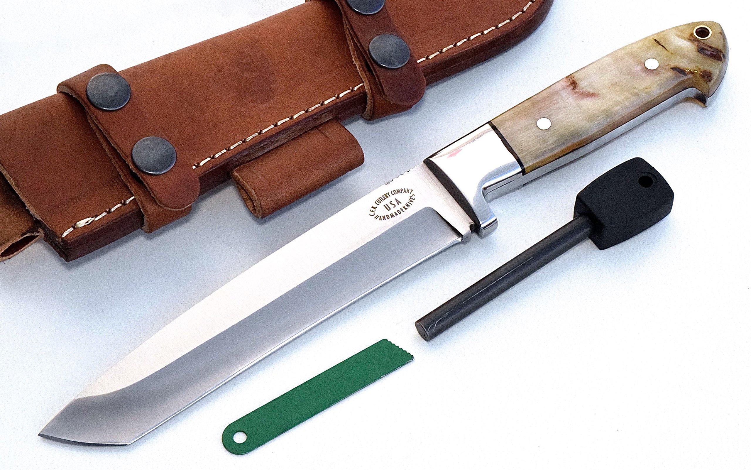 CFK Cutlery Company USA Custom Handmade D2 Tool Steel Battle Raptor Tanto Knife Sheep Horn Bushcraft Hunting Hunter Skinning Knife & Horizontal Leather Sheath & Fire Starter Rod CFK42