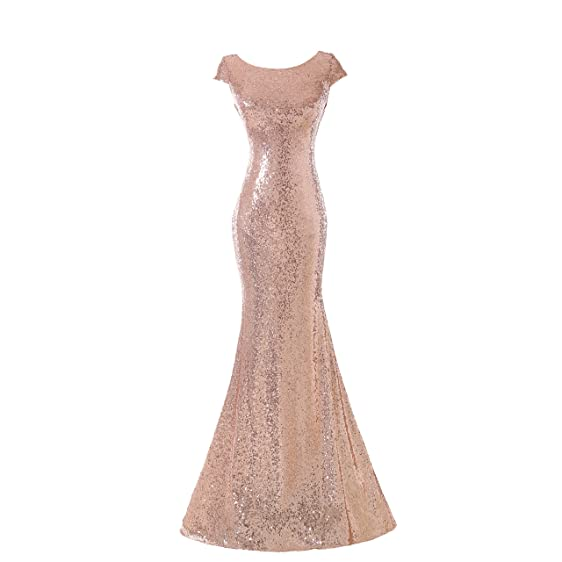 PEBridal Womens Long Sequin Bridesmaid Dress Mermaid Evening Prom Dresses US2 RoseGold