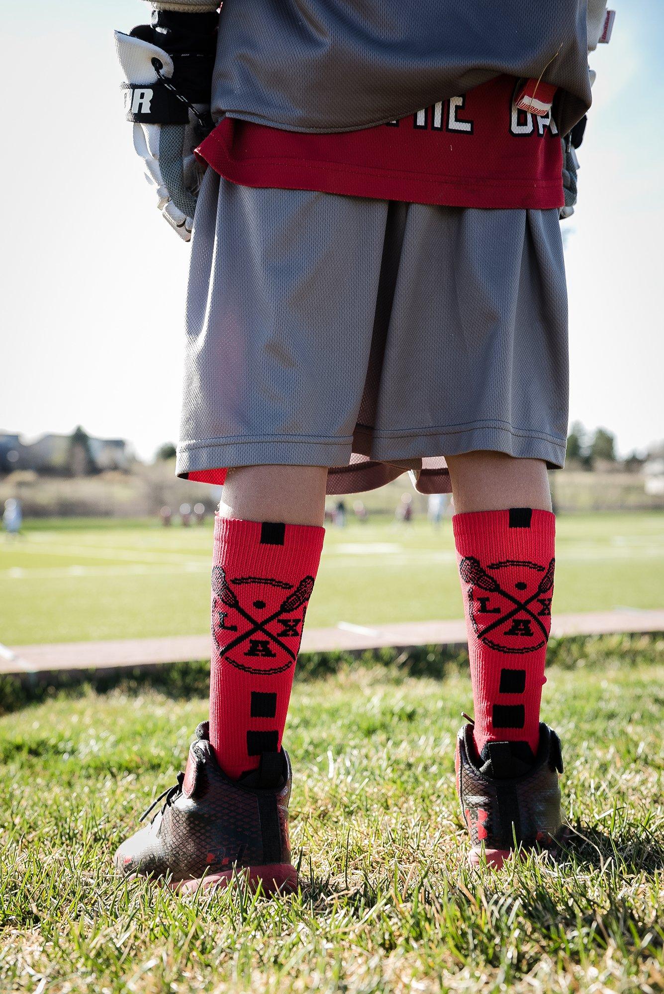 MadSportsStuff LAX Lacrosse Socks Lacrosse Sticks Athletic Crew Socks (Black/White, Large) by MadSportsStuff (Image #5)