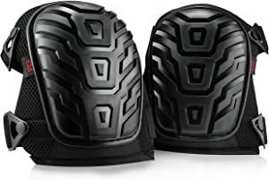 Rockland Guard Professional Knee Pads with Protective Knee Foam and Heavy Duty Soft Gel Cushion Padding for Work, Garden, Construction and Flooring Use - Adjustable Easy Clip On Straps