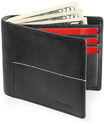 Dimostyle Cool Mens Wallet RFID Blocking - Black Men Wallet Leather - Billeteras de Hombres -