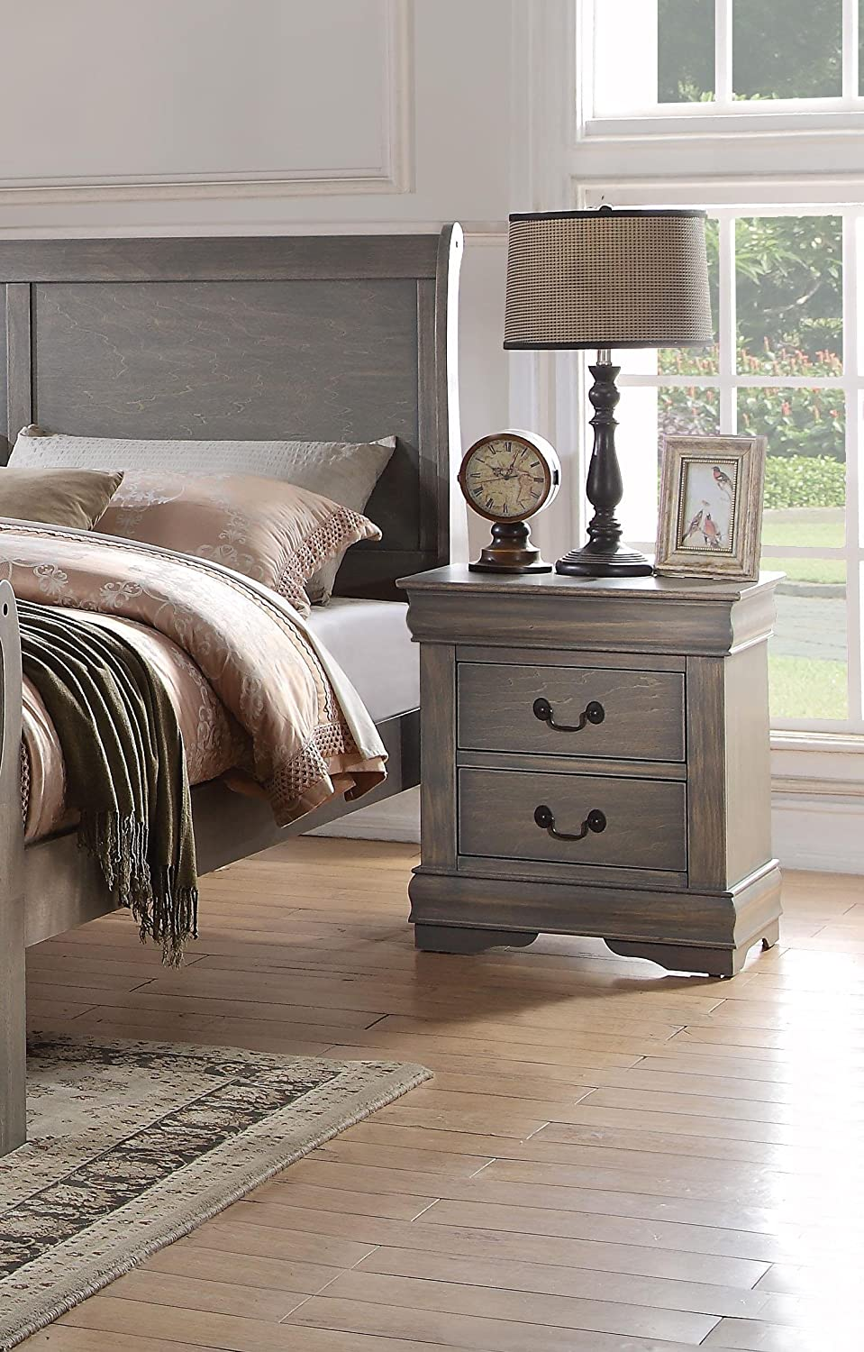 Acme Furniture AC-23863 Nightstand, One Size, Antique Gray
