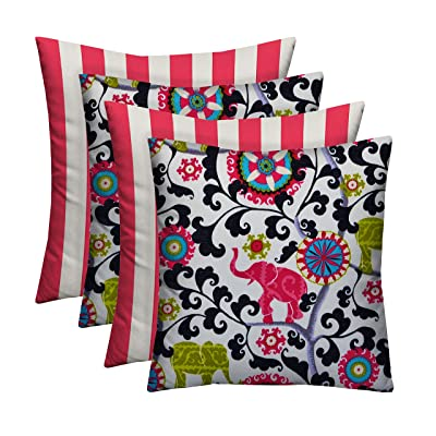 """RSH Décor Designer Indoor/Outdoor - 4 Pack Coordinating Pillow Sets (17"""" x 17"""", 2 Hot Pink & White Stripe & 2 Pink Bohemian Elephant): Home & Kitchen"""