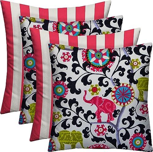 RSH D cor Designer Indoor Outdoor – 4 Pack Coordinating Pillow Sets 20 x 20 , 2 Hot Pink White Stripe 2 Pink Bohemian Elephant