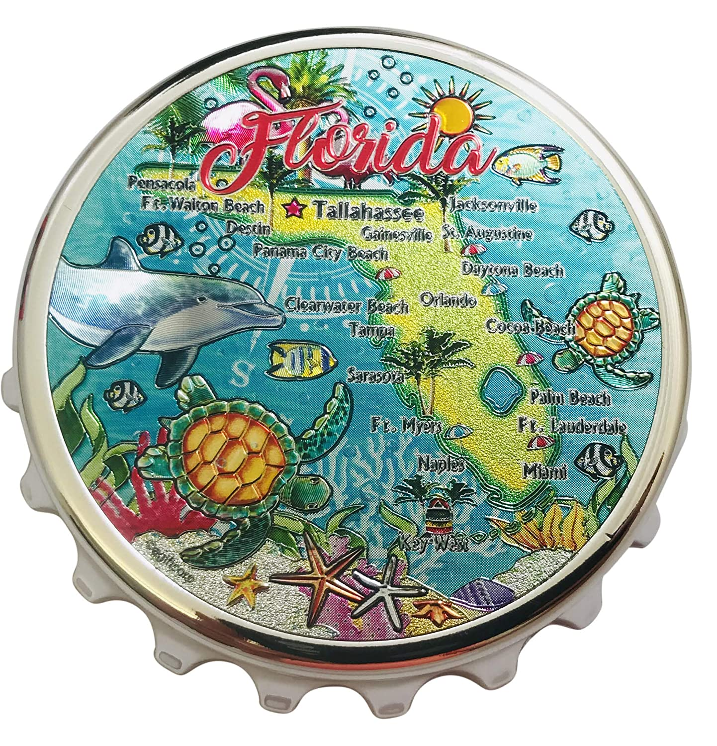 Westman Works Florida Map Bottle Cap Opener Magnetic Sunshine State Fridge Decoration Gift
