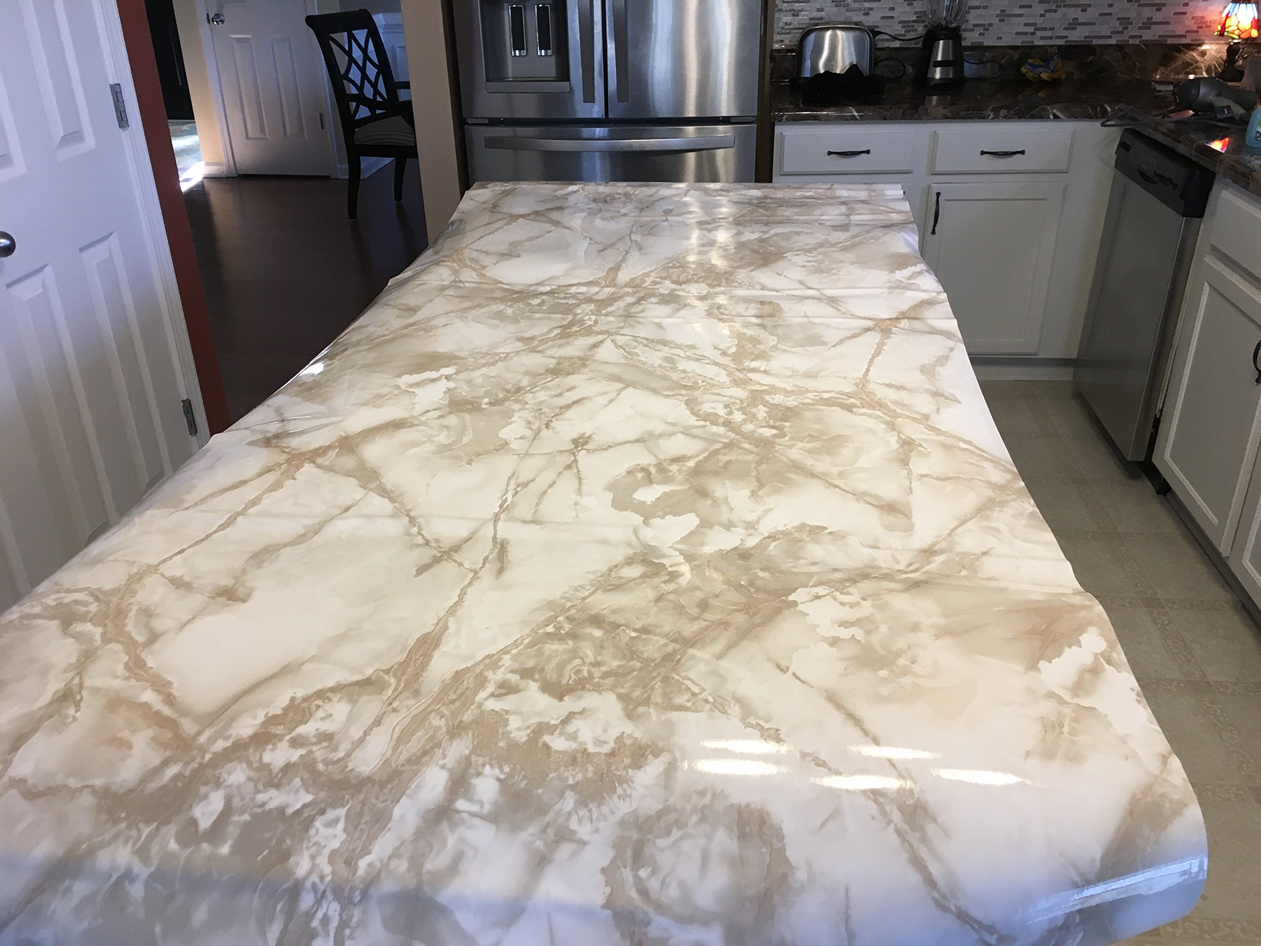 EZ FAUX DECOR 36'' W x 240'' L Decorative Peel and Stick White Riviera Creme Brulee Faux Marble Self Adhesive Counter Top Vinyl Film Update NOT Grandma's Contact Paper by EZ FAUX DECOR (Image #7)