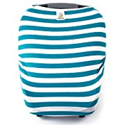 4 in 1 Car Seat Canopy, Nursing Cover, Shopping Cart Cover, or Highchair Cover (Teal and White Stripes)